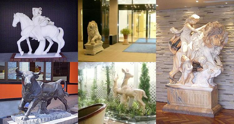 天然大理石の石像オブジェ・ライオン・トラ・馬・犬・動物像