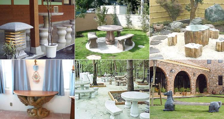 ガーデニングオーナメントのテーブルベンチ・レストラン・公園・個人邸にも癒しの空間